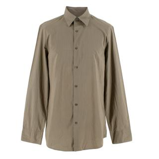 Jil Sander Taupe Pinstripe Cotton Long Sleeve Shirt