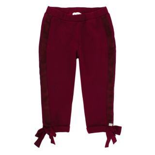 Nanan Burgundy Jersey Trousers with Bows