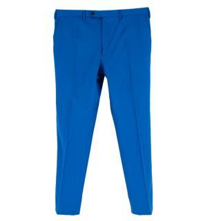 Donato Liguori Blue Wool Blend Bespoke Tailored Trousers