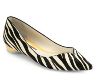 Sophia Webster Calf Hair Zebra Loca Flats