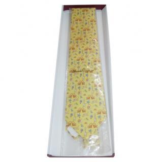 Ferragamo Yellow silk Animal Print Tie
