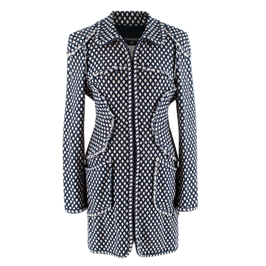 Chanel Blue & White Woven Tweed Classic Coat