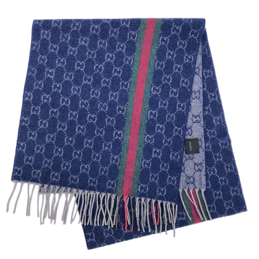 Gucci Blue Reversible Cashmere Scarf