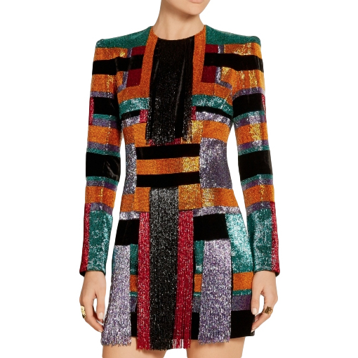 Balmain Runway Geometric Beaded Velvet Mini Dress