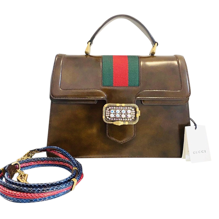 Gucci Antique Brown Leather Linea Crystal Clasp Top Handle Bag