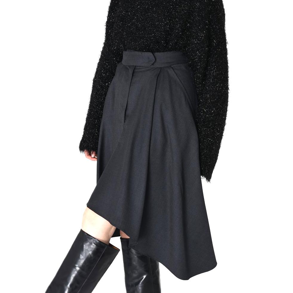 Isabel Marant Black Misa Asymmetric Wool Skirt
