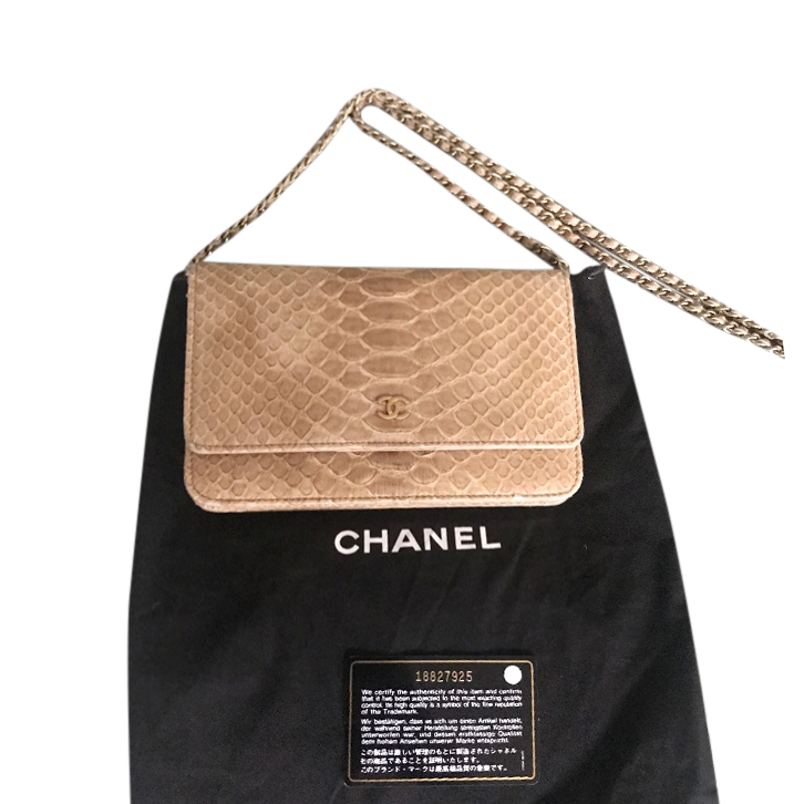 Chanel Python Leather Wallet On Chain