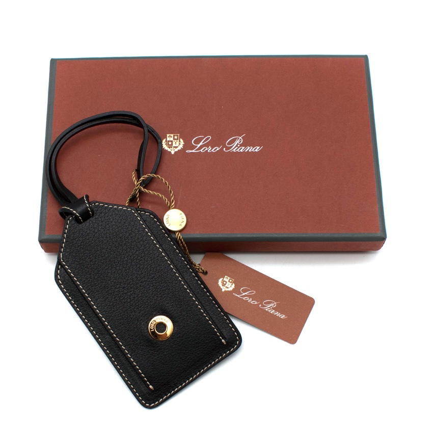 Loro Piana Black Grained Leather My Name Luggage Tag