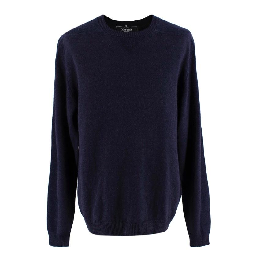 Esk Navy Wool & Cashmere Blend Round Neck Knit Sweater