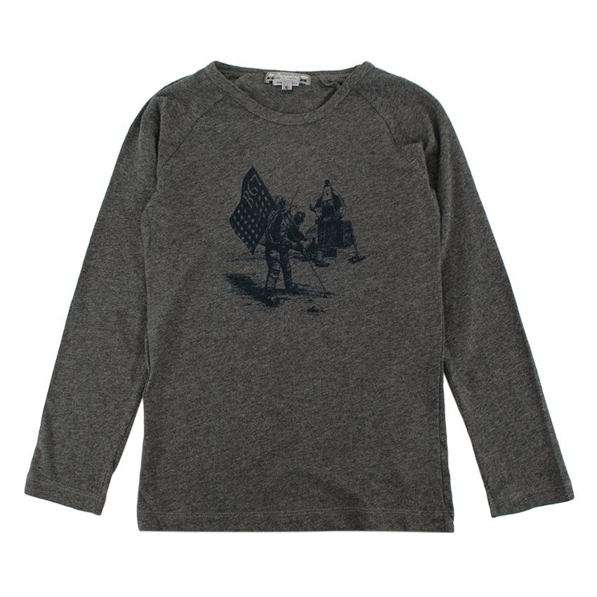 Bonpoint Grey Cotton Jersey Moon Landing Print Sweater