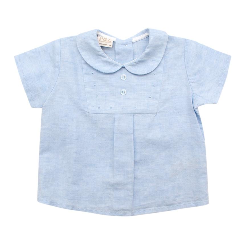 Paz Rodriguez Blue Cotton & Linen Short Sleeve Top