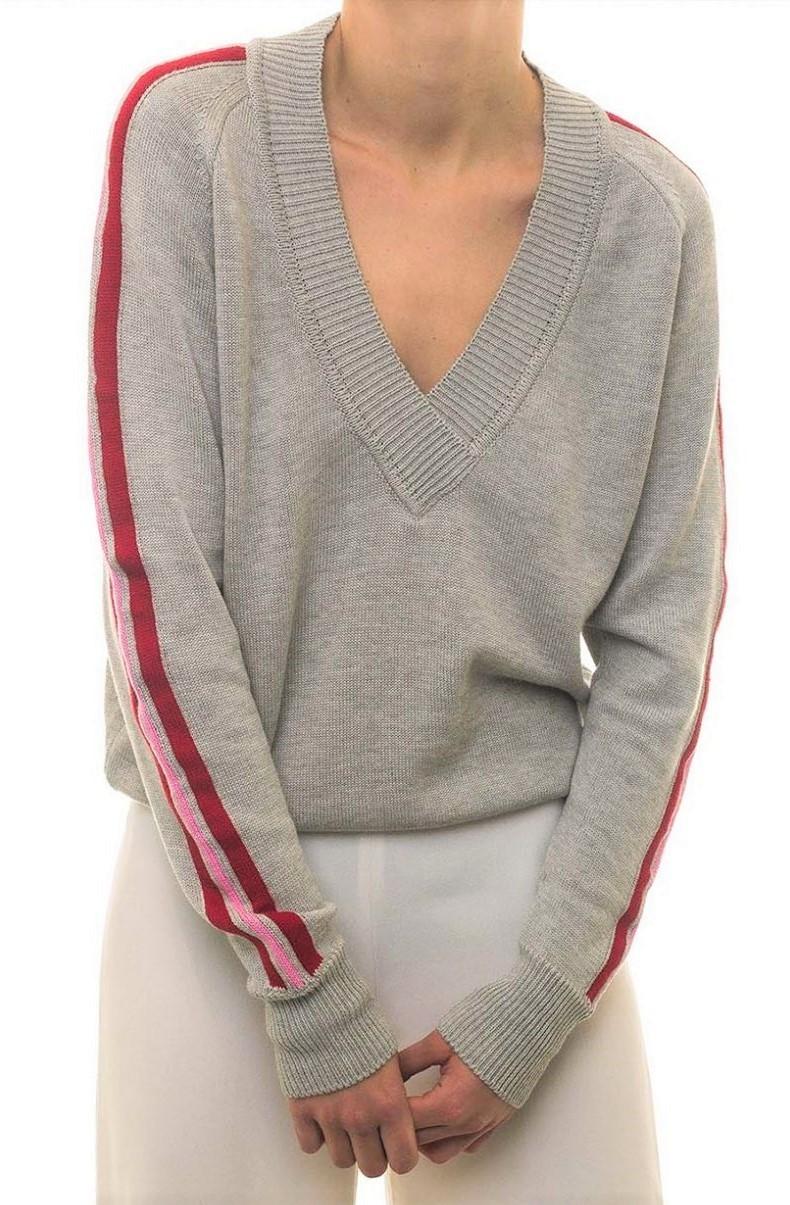 Valentine Witmeur Lab Grey Knit Side Stripe V-Neck Jumper