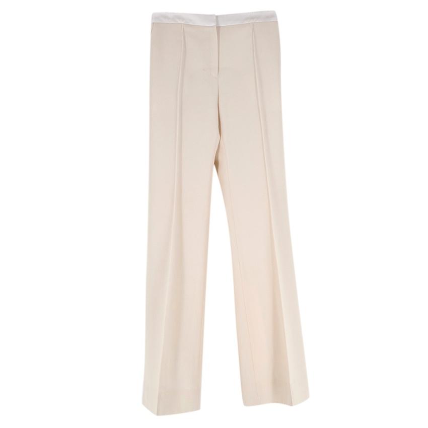 Pallas Beige Wool Flared Trousers