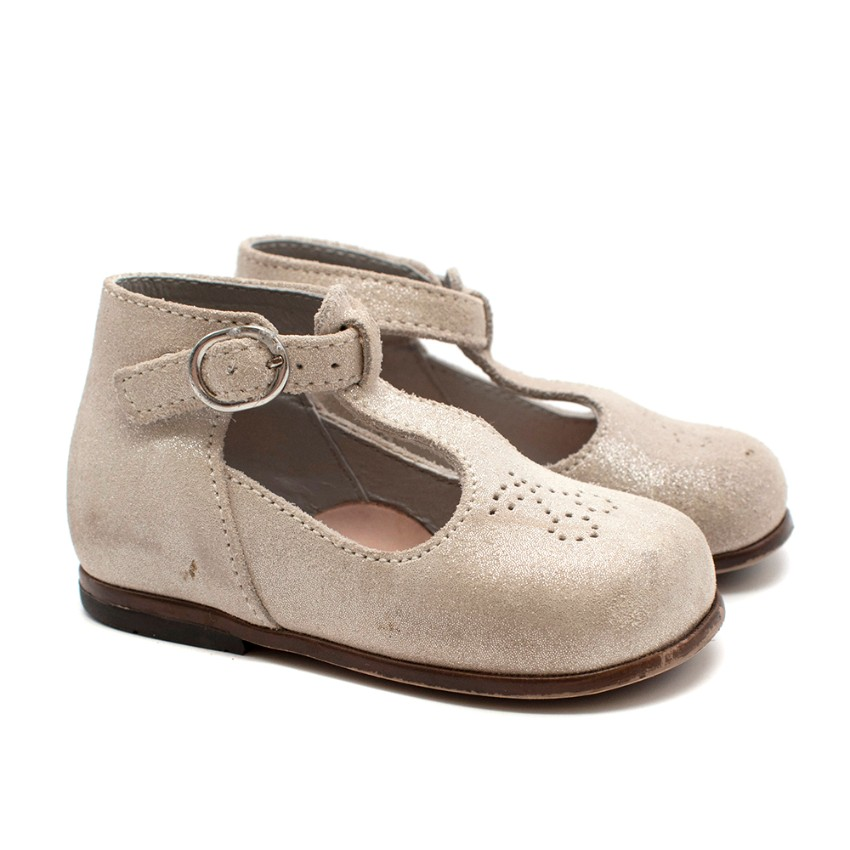 Bonpoint Beige Cherry Suede Mary Jane Shoes