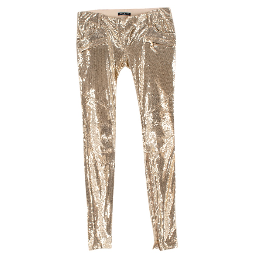 Balmain Golden Sequin Skinny Fit Zipper Detail Trousers