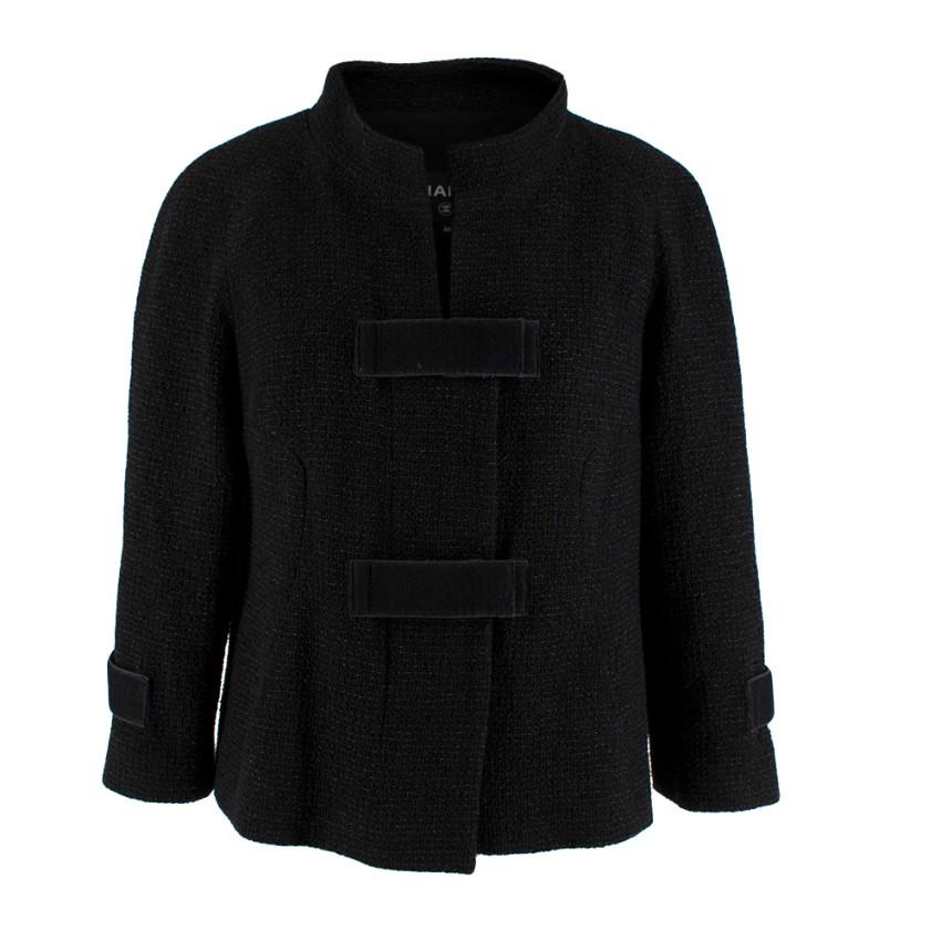 Chanel Black Tweed High Collar Jacket