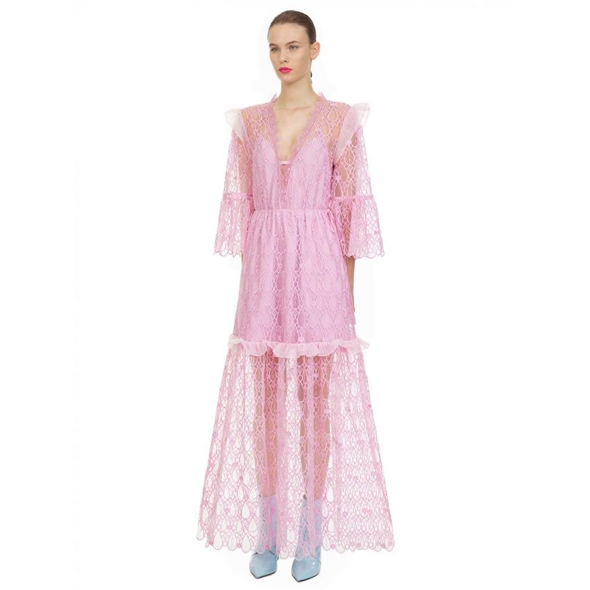 Self Portrait Pink Tear Drop Mesh Maxi Dress