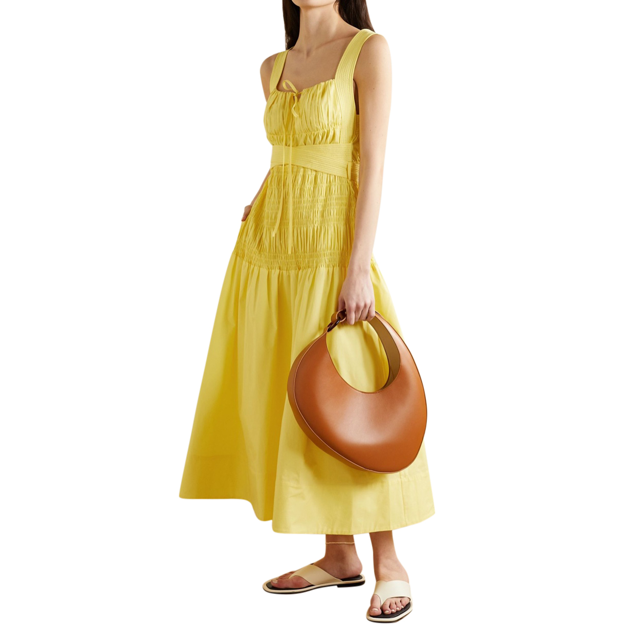 Self Portrait Bright Yellow Cotton Poplin Sleeveless Midi Dress