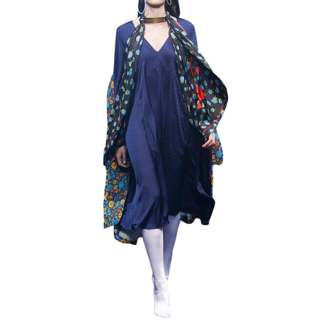 Balenciaga Blue Floral Print Kaftan Kimono Dress