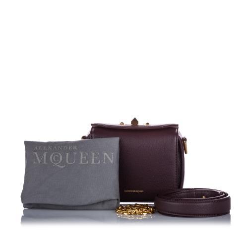 Alexander McQueen Burgundy Box 16 Leather Crossbody Bag