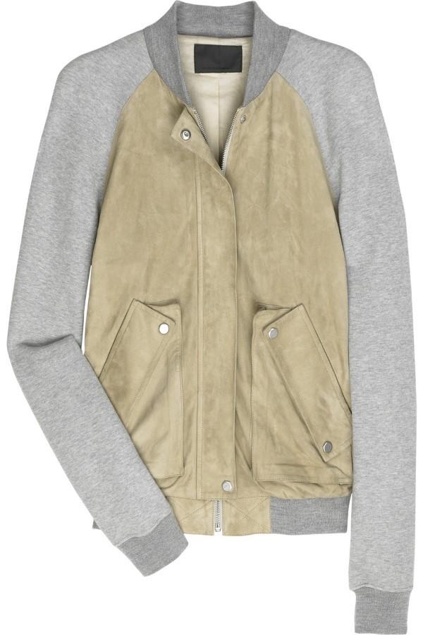 Alexander Wang Camel Suede & Grey Jersey Jacket