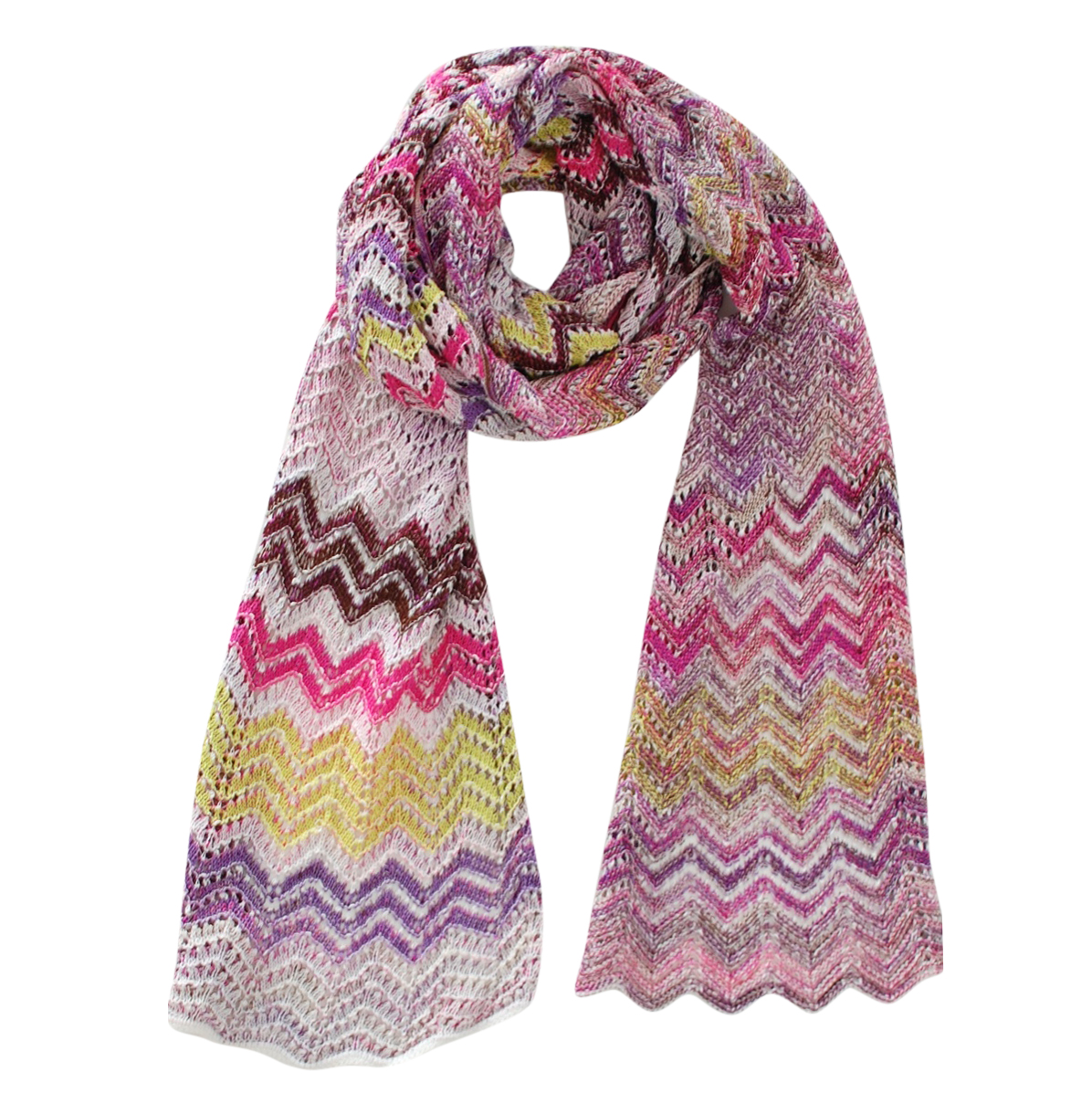 Missoni Pink Metallic Zig-Zag Knit Scarf