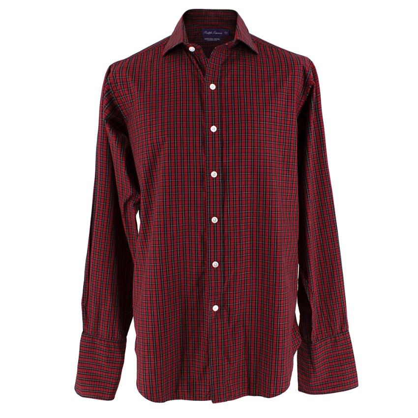 Ralph Lauren Double Cuffed Cotton Tartan Red Shirt
