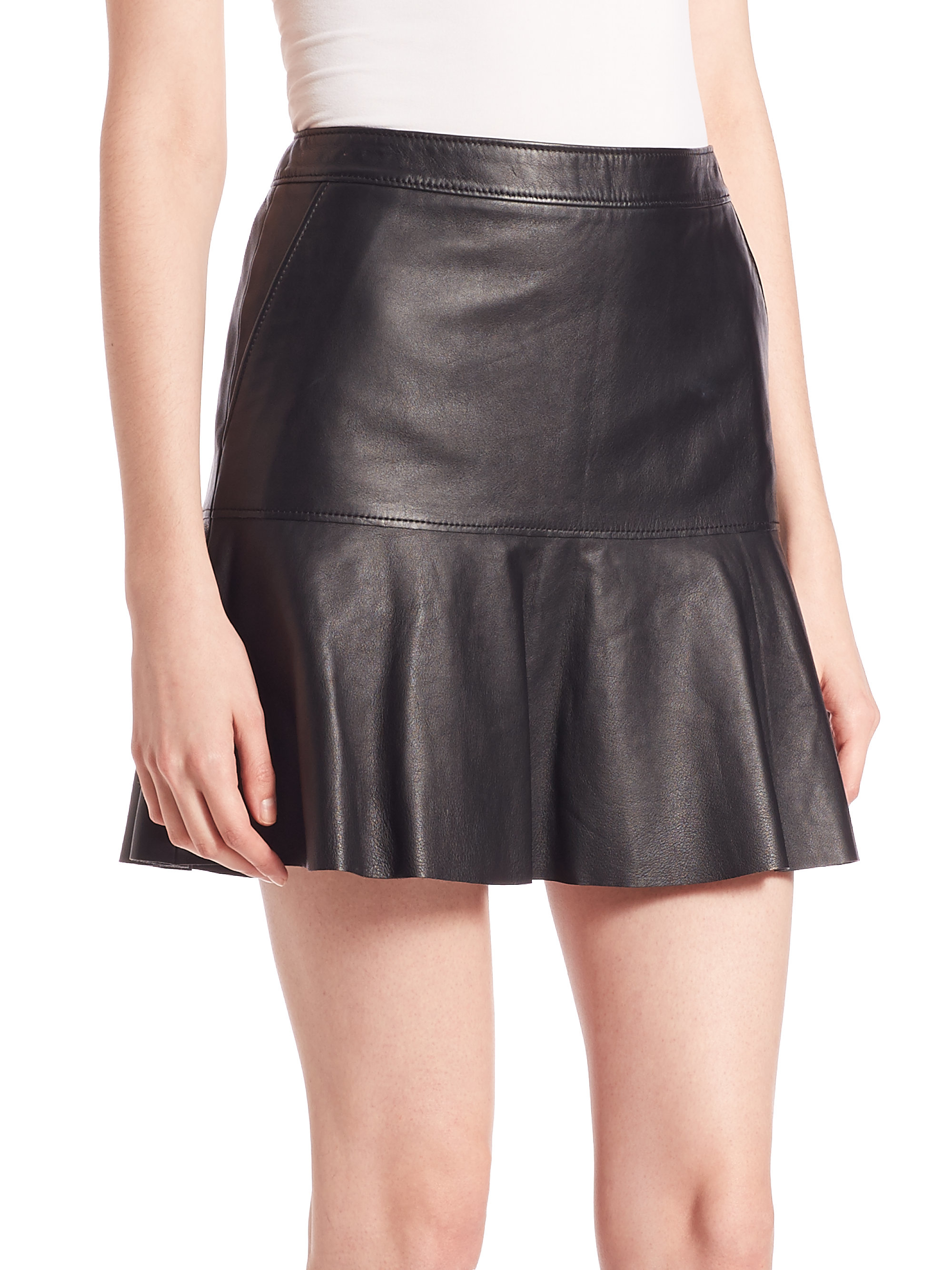 Coach 1941 Black Fluid Leather Mini Skirt