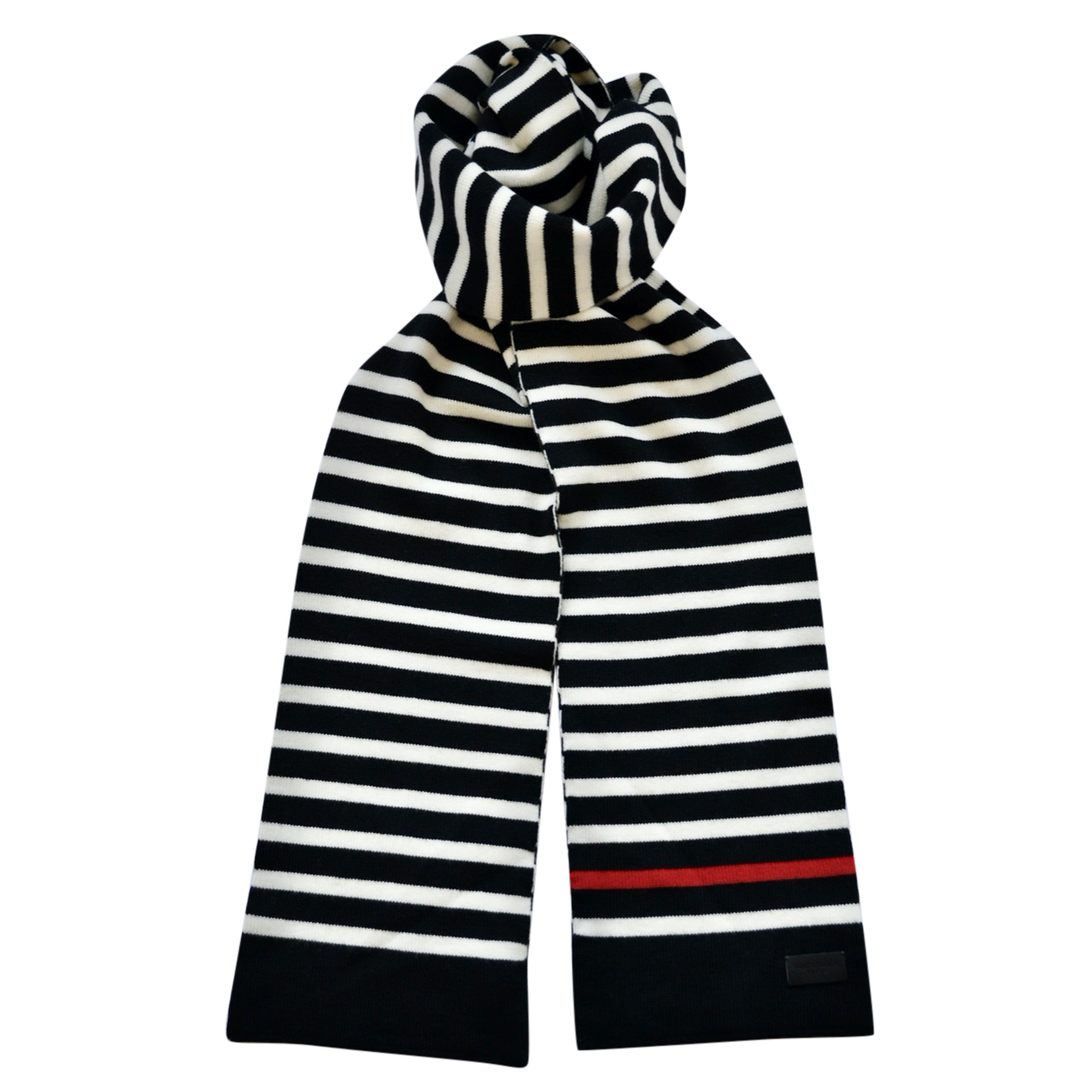 Saint Laurent Black & White Striped Wool Scarf