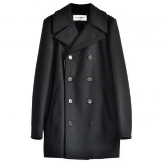 Saint Laurent black double-breasted wool coat