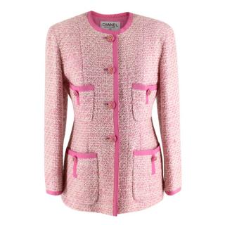 Chanel Boutique Classic Pink & Cream Tweed Tailored Jacket