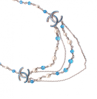 Chanel Blue Beaded Faux Pearl Crystals CC Necklace