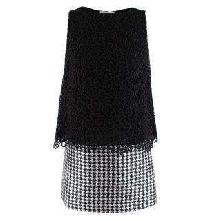 Viktor & Rolf Sleeveless Houndstooth & Lace Layered Dress