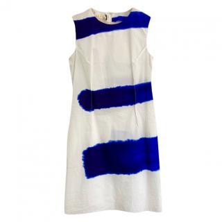 Marni White & Blue Paint Brush Stroke Sleeveless Dress