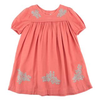 Bonpoint Coral Cotton Flannel Embroidered Dress