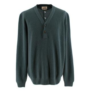 Hermes Green Cashmere Knit Double Collar Sweater