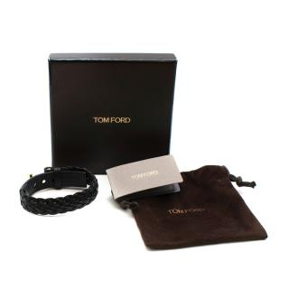 Tom Ford Woven Leather and Gold T Logo Bracelet