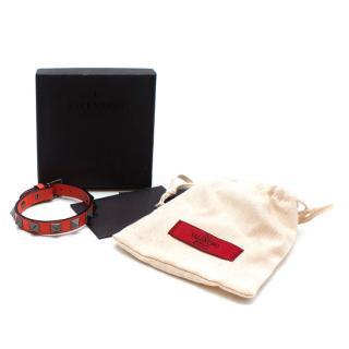 Valentino Coral Red Leather Rockstud Bracelet