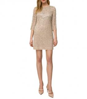 Jenny Packham Crystal Embellished Hermione Champagne Mini Dress
