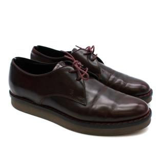 Tod's Burgundy Leather Lace-up Shoes