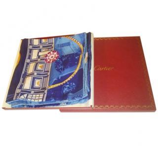 Cartier Blue Jewelled Silk Scarf