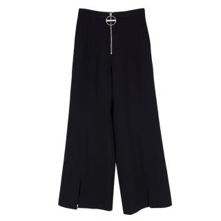 Givenchy Black Statement Zip Wide Leg Trousers