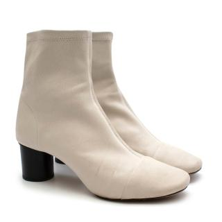 Isabel Marant Ivory Leather Heeled Ankle Boots