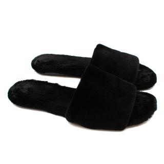 The Row Black Ellen mink-fur slides