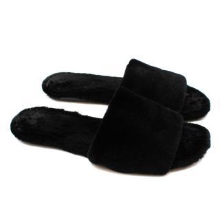 The Row Black Ellen mink-fur slides