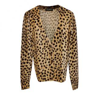 Dolce & Gabbana Cashmere Leopard Print Cardigan