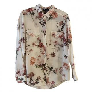 The Kooples White Floral Print Silk Blouse