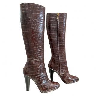 Gianfranco Ferre Brown Croc Embossed Knee Boots