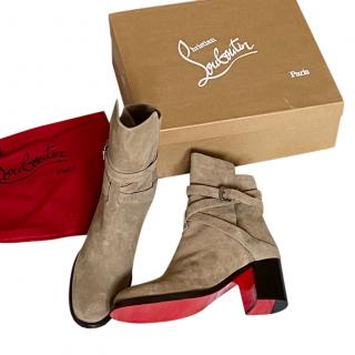 Christian Louboutin beige suede Karistrap 70 ankle boots