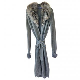 Trussardi Cable Knit Virgin Wool Belted Fur Trim Cardigan